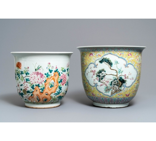 Rob Michiels AuctionsTwo large Chinese famille rose jardinières, 19th C.