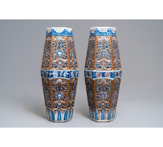 Rob Michiels AuctionsA pair of rare Chinese hexagonal brown-ground blue, white and iron red vases, 19th C.