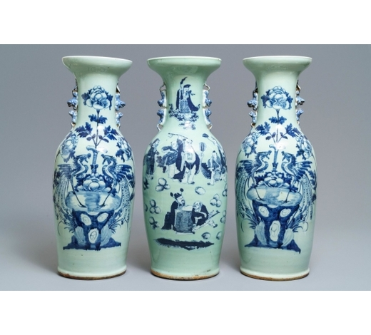 Rob Michiels AuctionsThree Chinese blue and white celadon-ground vases, 19th C.