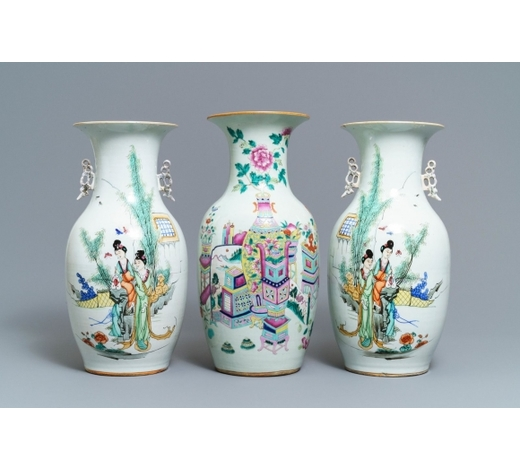 Rob Michiels AuctionsA pair of Chinese famille rose vases and one with antiquities design, 19/20th C.