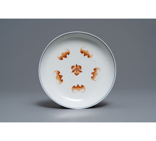 Rob Michiels AuctionsA Chinese iron red and blue and white 'bats and peaches' plate, 19th C.