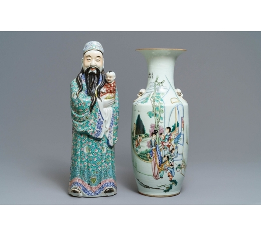 Rob Michiels AuctionsA Chinese famille rose vase and a figure of Fu Xing, 19th C.