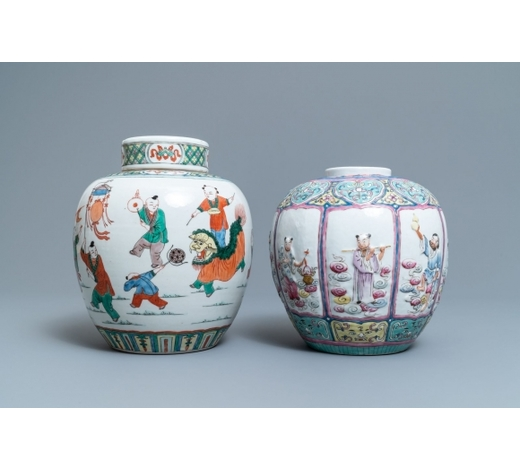 Rob Michiels AuctionsA Chinese famille rose relief-decorated jar and a famille verte jar with cover, 19th C.