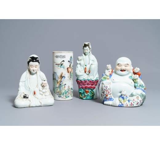 Rob Michiels AuctionsThree Chinese famille rose figures and a qianjiang cai hat stand, 19/20th C.