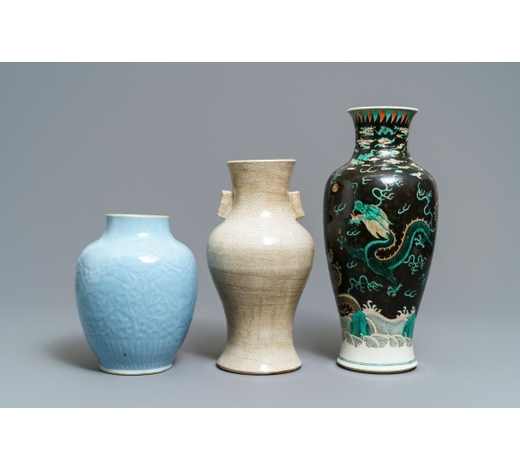 Rob Michiels AuctionsThree Chinese monochrome and famille noire vases, 19th C.