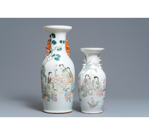 Rob Michiels AuctionsTwo Chinese qianjiang cai vases with ladies and playing children, 19/20th C.