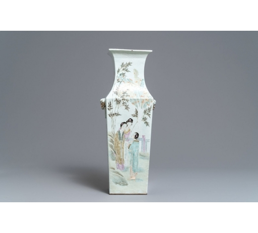 Rob Michiels AuctionsA square Chinese qianjiang cai vase, 19/20th C.
