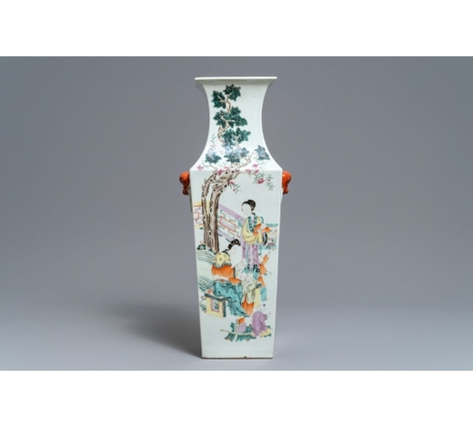 Rob Michiels AuctionsA square Chinese qianjiang cai vase with court ladies and playing children, 19/20th C.