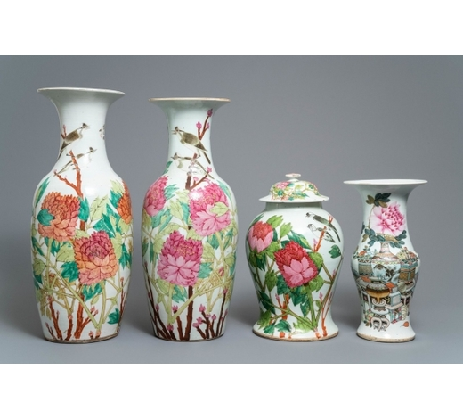 Rob Michiels AuctionsFour Chinese qianjiang cai vases, 19/20th C.