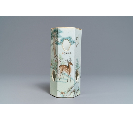 Rob Michiels AuctionsA Chinese reticulated hexagonal qianjang cai hat stand, signed Yu Huanwen, dated 1895