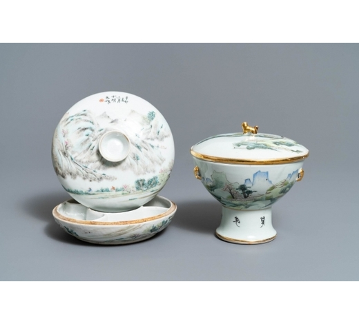 Rob Michiels AuctionsA Chinese qianjiang cai spice box and a warming bowl on foot, 19/20th C.