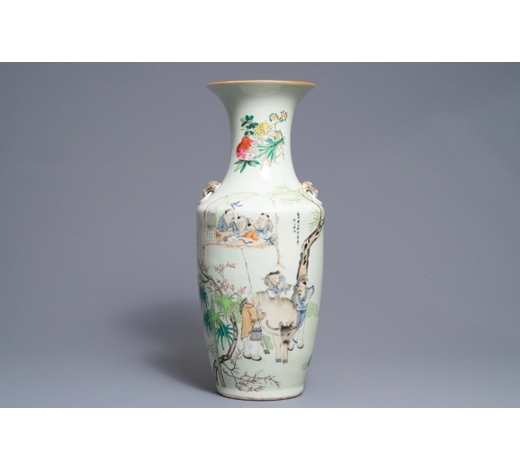 Rob Michiels AuctionsA Chinese qianjiang cai vase with figures near an ox, Ma Qingyun, 19/20th C.