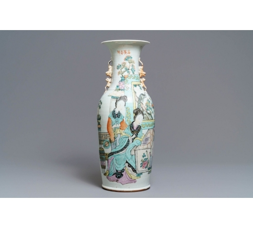 Rob Michiels AuctionsA large Chinese qianjiang cai vase with two ladies, 19/20th C.