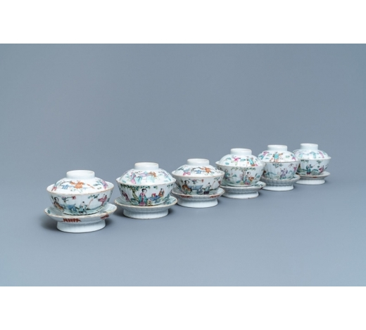 Rob Michiels AuctionsSix Chinese famille rose covered bowls on stands, 19th C.