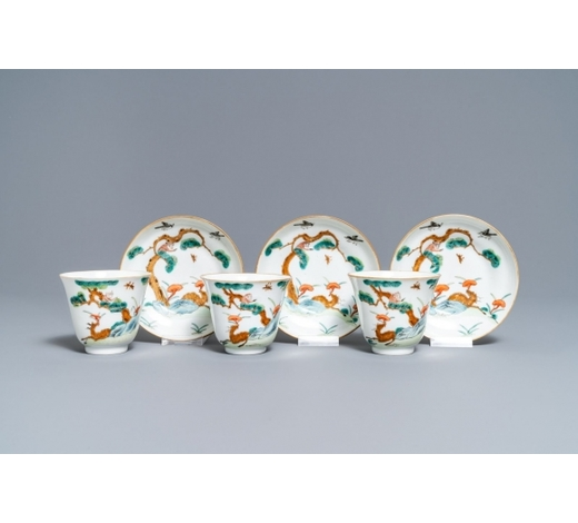 Rob Michiels AuctionsThree Chinese famille verte 'deer and monkey' cups and saucers, Tongzhi mark and of the period