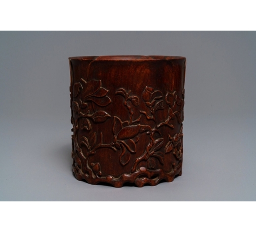 Rob Michiels AuctionsA Chinese carved wood 'magnolia' brush pot, prob. Qing