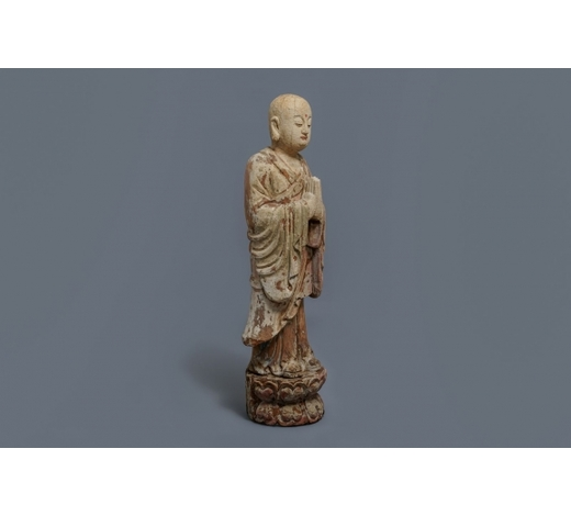 Rob Michiels AuctionsA Chinese painted wood figure of a Buddhist monk, 19th C.