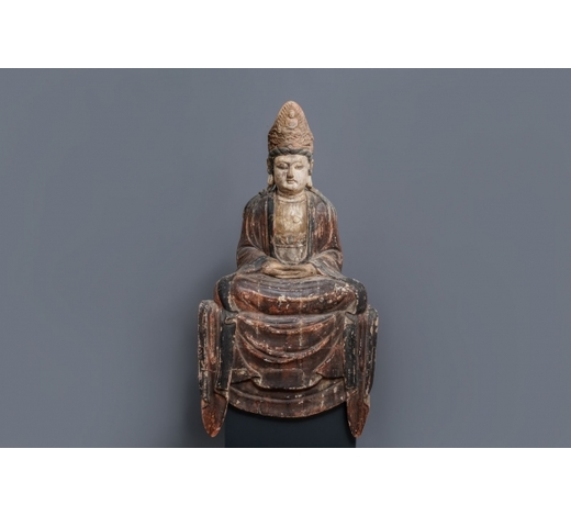Rob Michiels AuctionsA Chinese painted wood figure of a Bodhisattva, 18/19th C.