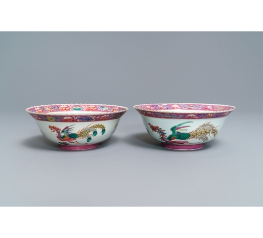 Rob Michiels AuctionsA pair of Chinese Straits or Peranakan market famille rose bowls with phoenixes, 19th C.