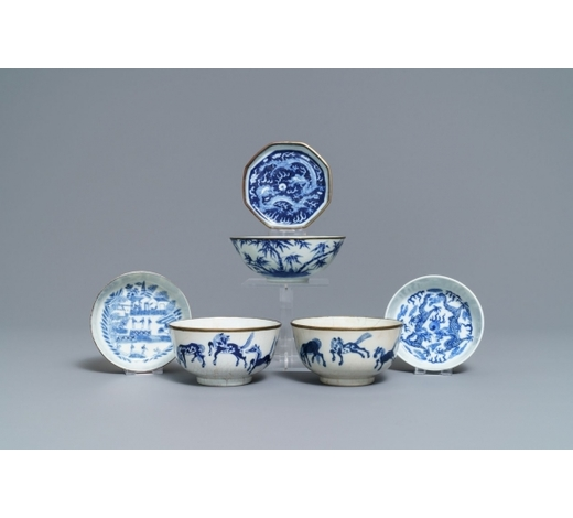 Rob Michiels AuctionsSix Chinese blue and white 'Bleu de Hue' Vietnamese market bowls and dishes, 19th C.