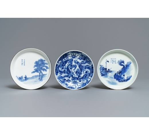 Rob Michiels AuctionsThree Chinese blue and white Vietnamese market 'Bleu de Hue' saucers, 19th C.