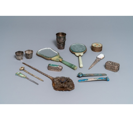 Rob Michiels AuctionsA varied collection of Chinese silver, some with jade mounts, 19/20th C.