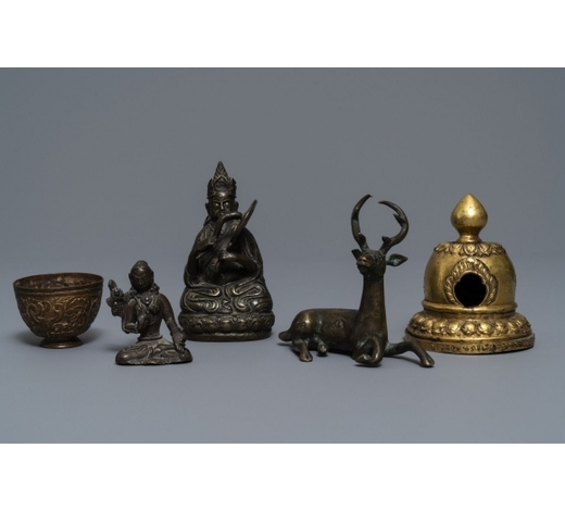 Rob Michiels AuctionsFive bronze votive Buddhist objects, Tibet and Nepal, 18/19th C.