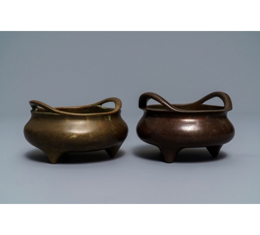Rob Michiels AuctionsTwo Chinese bronze tripod censers, Xuande marks, 19th C.