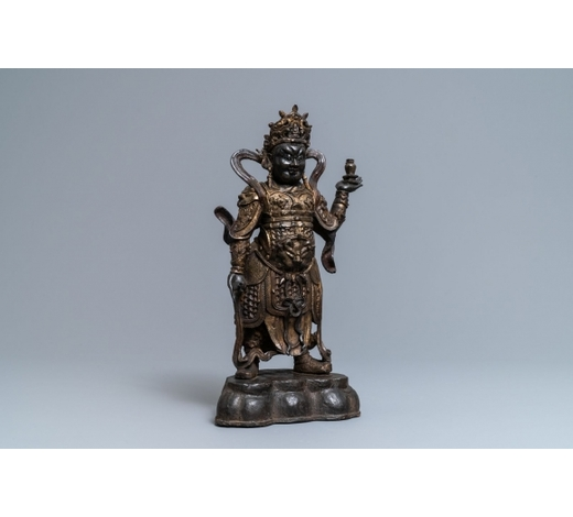 Rob Michiels AuctionsA Chinese gilt-lacquered bronze figure of Weituo, Ming