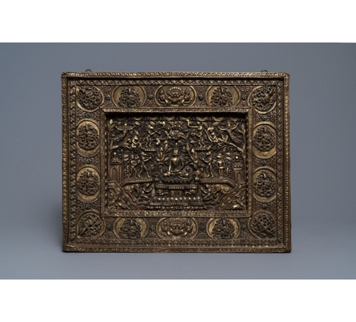 Rob Michiels AuctionsA parcel-gilt coral- and turquoise inlaid bronze votive 'Medicine Buddha' plaque, Tibet or Nepal, 19th C.