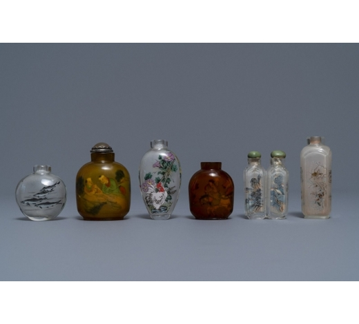 Rob Michiels AuctionsSix Chinese reverse-painted glass snuff bottles, 19/20th C.