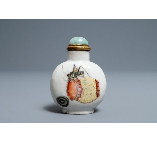 Rob Michiels AuctionsA Chinese famille rose 'grasshopper' snuff bottle, Daoguang mark and of the period