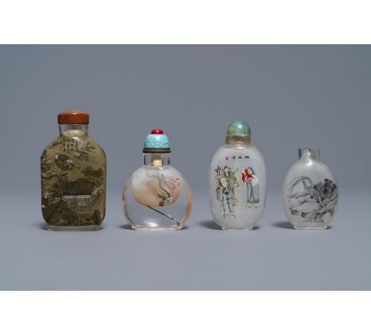 Rob Michiels AuctionsFour Chinese reverse-painted glass snuff bottles, 19/20th C.