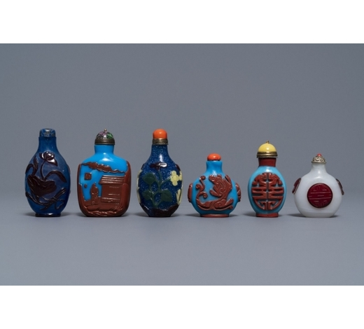 Rob Michiels AuctionsSix Chinese overlay glass snuff bottles, 19/20th C.