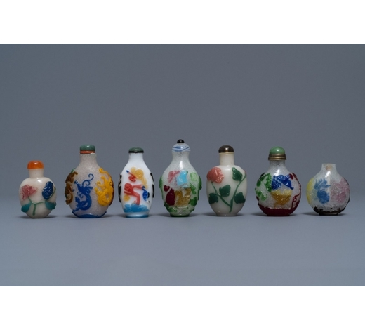 Rob Michiels AuctionsSeven Chinese multi-colour overlay glass snuff bottles, 19/20th C.