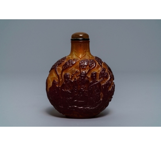 Rob Michiels AuctionsA Chinese table snuff flask with overlay glass design, 19th C.