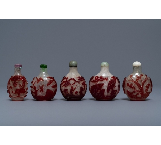 Rob Michiels AuctionsFive Chinese red overlay snowflake glass snuff bottles, 18/20th C.