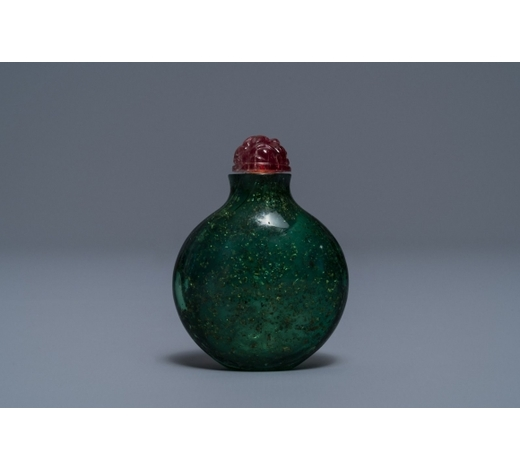 Rob Michiels AuctionsA rare Chinese biotite-sandwiched green glass snuff bottle, Imperial Glassworks, Beijing, 1720-1840