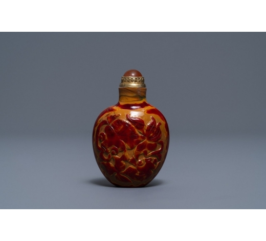 Rob Michiels AuctionsA Chinese carved realgar glass snuff bottle, Imperial Glassworks, Beijing, 1730-1840