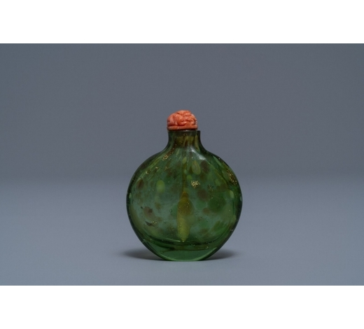 Rob Michiels AuctionsA Chinese biotite-sandwiched green glass snuff bottle, Imperial Glassworks, Beijing, 1720-1840