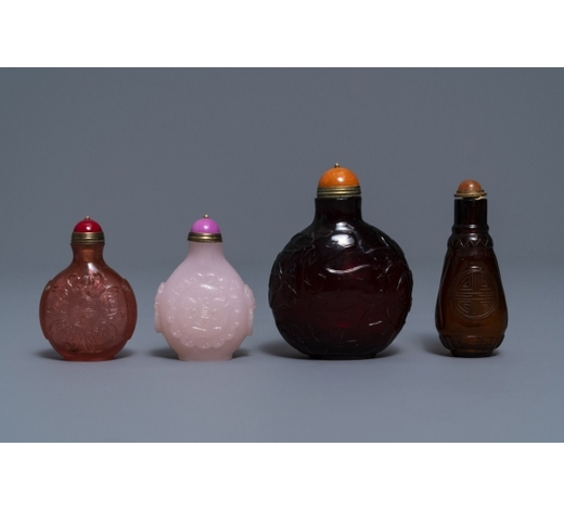 Rob Michiels AuctionsFour Chinese cherry red and pink glass snuff bottles, 19/20th C.