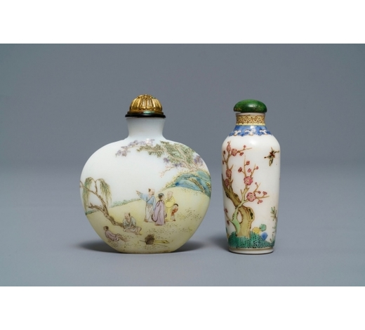 Rob Michiels AuctionsTwo Chinese enamelled glass snuff bottles, Guyue Xuan marks, probably Palace workshops, Beijing, Qianlong