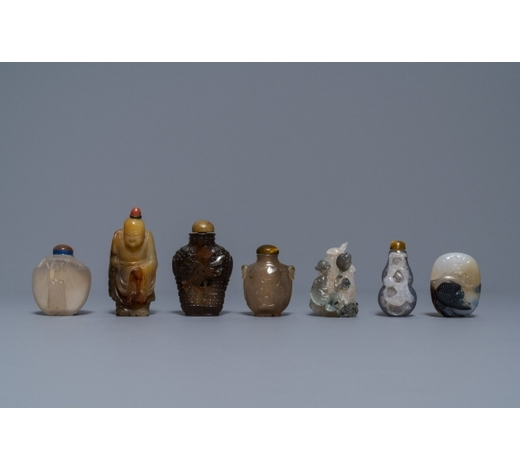Rob Michiels AuctionsSix Chinese carved agate snuff bottles and a pendant, 19/20th C.