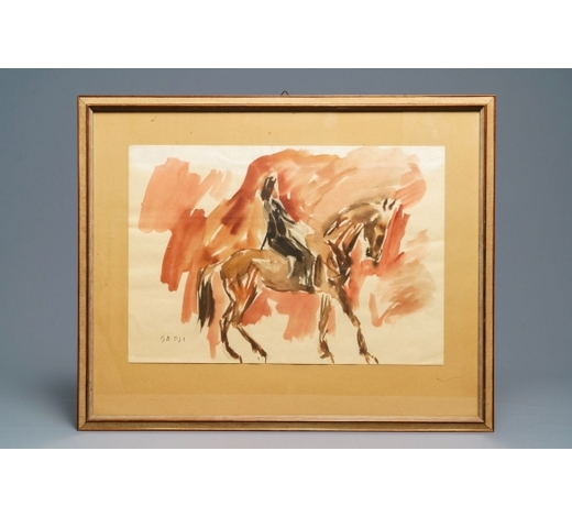 Rob Michiels AuctionsSadji (Sha Qi, Sha Yinnian) (1914-2005): Rider on horseback, watercolor and ink on paper, signed lower left