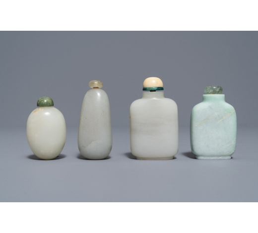 Rob Michiels AuctionsFour Chinese white and celadon jade snuff bottles, 19/20th C.