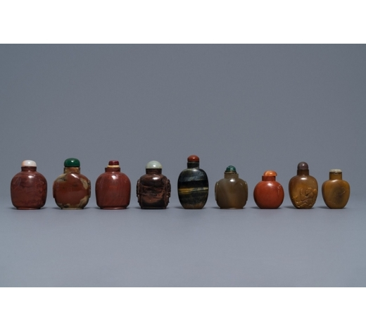 Rob Michiels AuctionsNine various Chinese hardstone snuff bottles, 19/20th C.