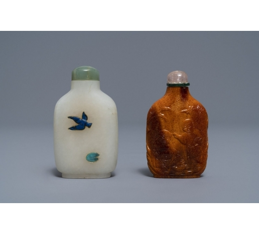 Rob Michiels AuctionsTwo Chinese hardstone-embellished white jade and carved amber snuff bottles,18/19th C.