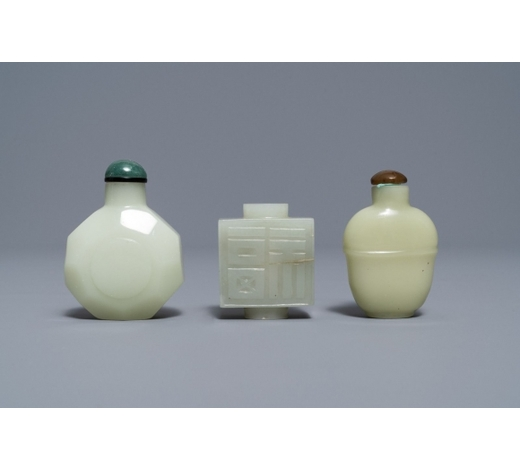Rob Michiels AuctionsThree Chinese pale celadon jade snuff bottles, 19th C.