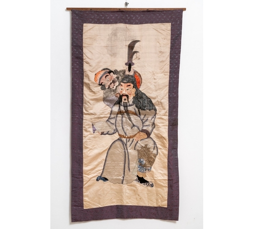 Rob Michiels AuctionsA Chinese silk embroidery with two figures from 'The roman of the three kingdoms', 19th C.