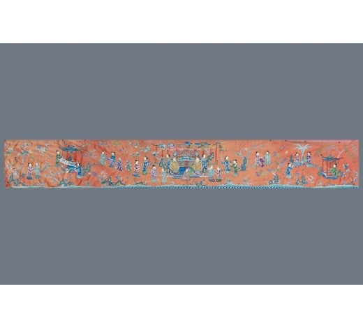Rob Michiels AuctionsA long rectangular Chinese embroidered silk altar cloth, 19/20th C.